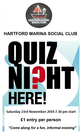 Hartford marina Social Club Quiz Night 23rd November 2019